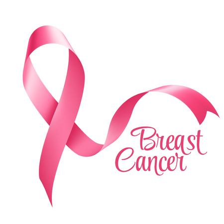Breast Cancer Awareness Ribbon Background. Vector illustration  向量圖像