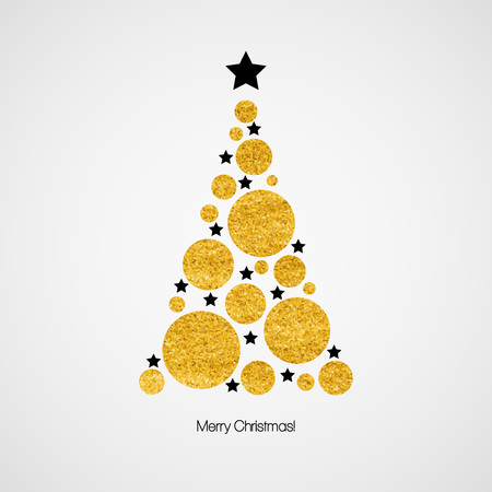christmas tree illustration: Christmas card with Christmas tree. Vector illustration