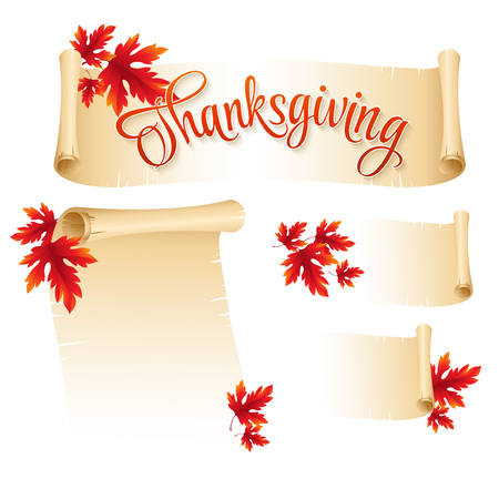 Thanksgiving scroll with  autumn leaves. Vector illustration  EPS 10