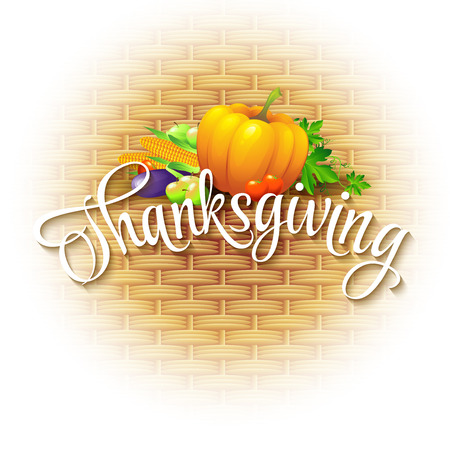 thanksgiving cornucopia: Thanksgiving Card wicker basket background. Vector illustration EPS 10