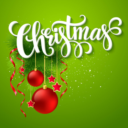 gaud: Christmas lettering card with holly and  fir-tree branch. Vector illustration EPS 10 Illustration