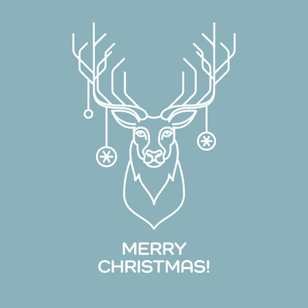 christmas wallpaper: Christmas deer. Line art. Vector illustration EPS 10