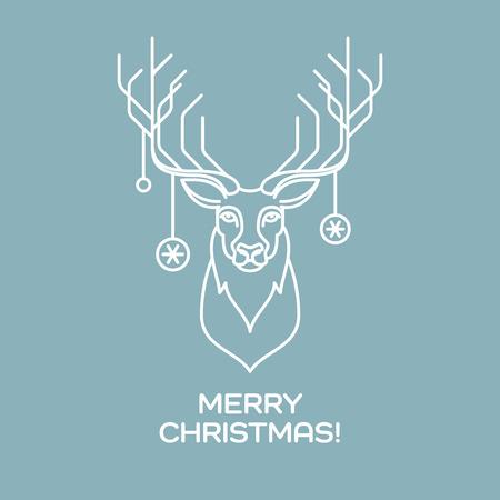 head silhouette: Christmas deer. Line art. Vector illustration EPS 10