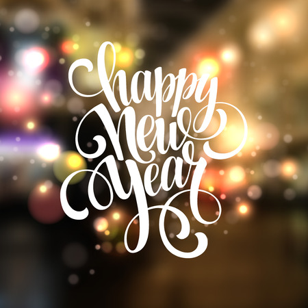 winter season: New Year, Handwritten Typography over blurred background. Vector illustration EPS 10 Illustration
