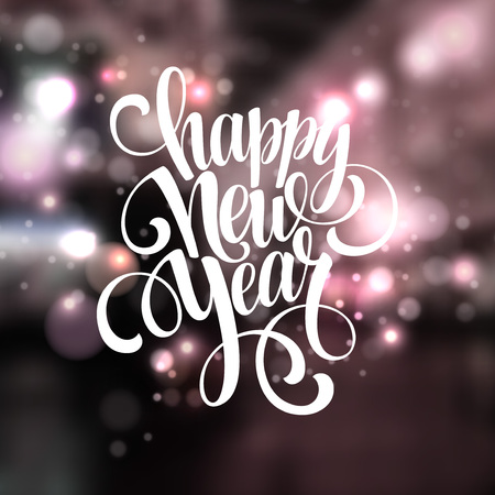 new years eve: New Year, Handwritten Typography over blurred background. Vector illustration EPS 10 Illustration