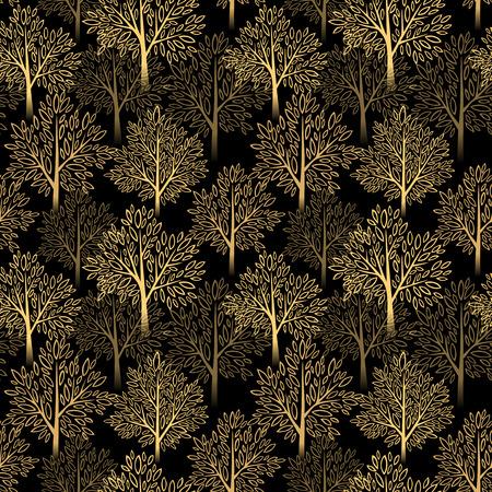 autumn tree: Fall season background. Autumn tree seamless pattern. Vector illustration EPS 10