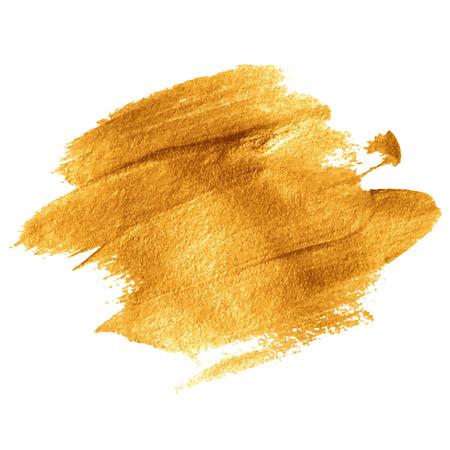 cepillo: Pintura acrílica de oro. Ilustración del vector EPS 10