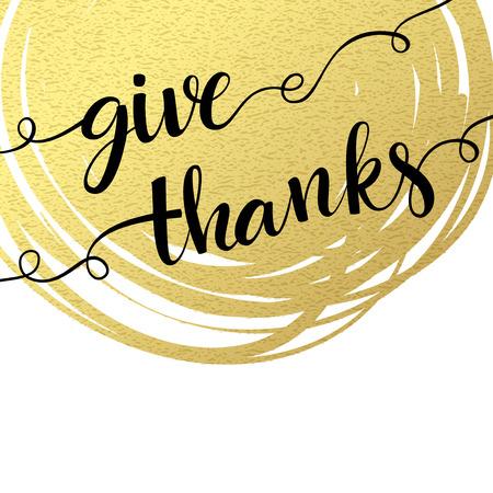 te negro: Gracias letras de la mano de salpicaduras de fondo de oro con textura. Ilustración del vector EPS 10