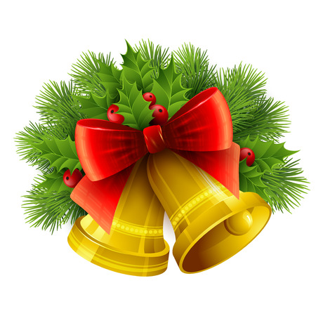 evergreen: Christmas decoration  with evergreen trees, holly  and bells. Vector illustration EPS 10