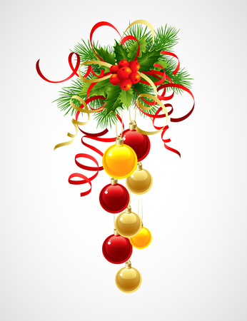 berry: Christmas decoration holly with berries and christmas ball. Vector illustration EPS 10