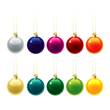 adorning: Set of Christmas decorations. Vector illustration EPS 10