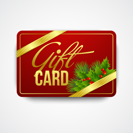 christmas border: Christmas gift card with holly. Vector illustration EPS 10