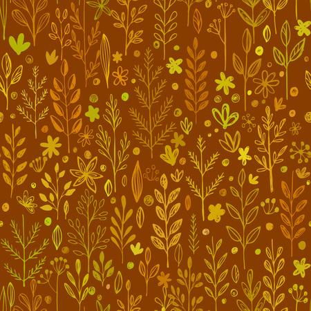 Seamless pattern, doodling fall grass design. Vector illustration EPS 10