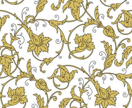 wallpaper floral: Luxury Golden Seamless Wallpaper Pattern. Vector illustration EPS 10 Illustration