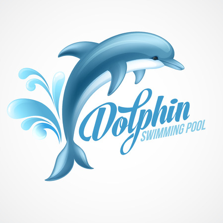 splash pool: Dolphin. Swimming pool sign template. Vector illustration EPS 10