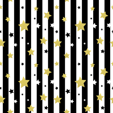 greeting cards: Black, white and gold stars seamless patterns. Vector illustration EPS 10