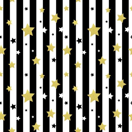 amarillo y negro: Negros, estrellas blancas y doradas patrones sin fisuras. Ilustración del vector EPS 10