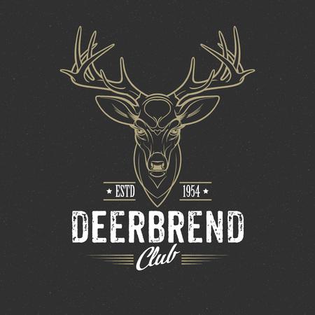 Deer head Design Element in Vintage Style. Vector illustration EPS 10