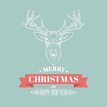moños navideños: Ciervos de la Navidad decoración de diseño. Elementos tipográficos, etiquetas vintage, marcos, cintas, establecen. Ilustración del vector EPS 10