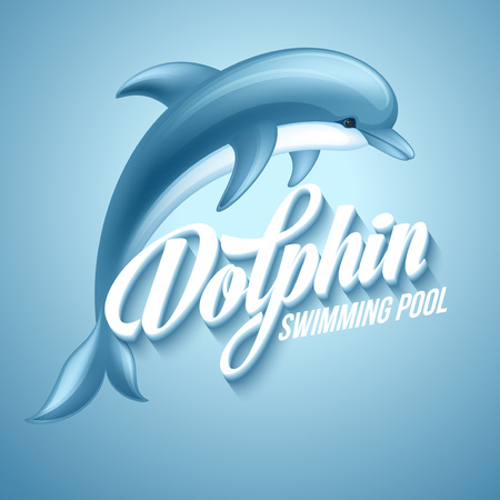 playful: Dolphin. Swimming pool sign template. Vector illustration EPS 10