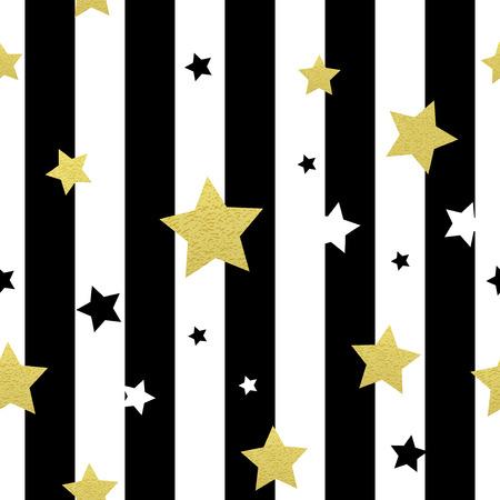 gold stars: Black, white and gold stars seamless patterns. Vector illustration EPS 10