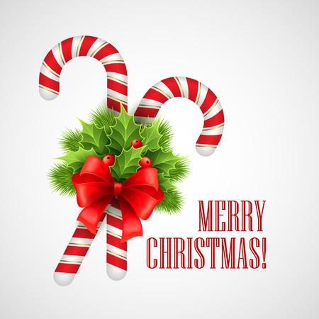 Bastón de caramelo de la Navidad con acebo y el arco rojo. Ilustración del vector EPS 10