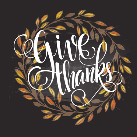 thanks: Card for Thanksgiving Day on the blackboard with floral design. Vector illustration EPS 10 Illustration