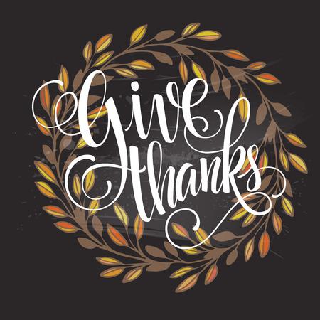 Tarjeta para el Día de Acción de Gracias en la pizarra con diseño floral. Ilustración del vector EPS 10