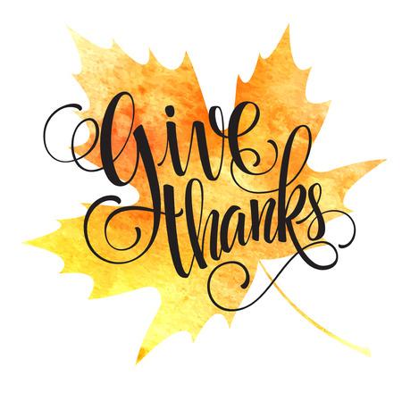 Thanksgiving background. Watercolor autumn leaves. Vector illustration EPS 10 Illustration