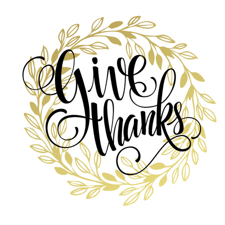 with thanks: Thanksgiving - gold glittering lettering design. Vector illustration EPS 10 Illustration
