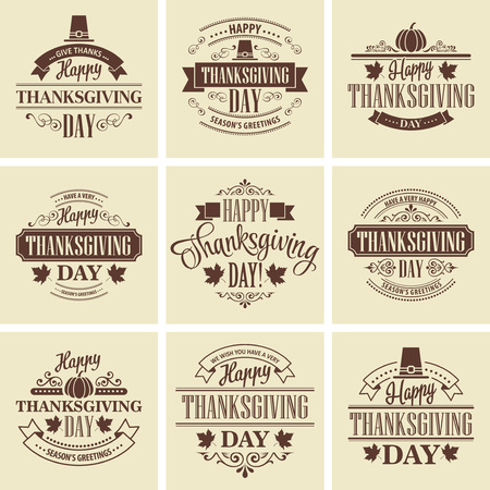 eps 10: Typographic Thanksgiving Design Set. Vector illustration EPS 10 Illustration