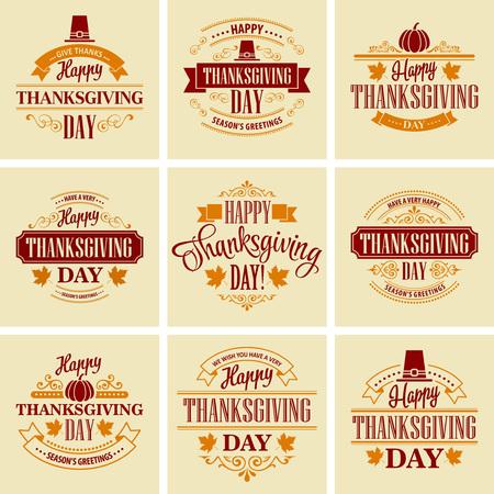 Typographic Thanksgiving Design Set. Vector illustration EPS 10 Vettoriali