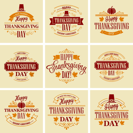 thank you cards: Typographic Thanksgiving Design Set. Vector illustration EPS 10 Illustration