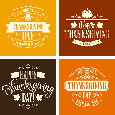 Typographic Thanksgiving Design Set. Vector illustration EPS 10 Çizim