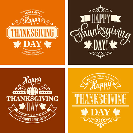 thanksgiving day greetings: Typographic Thanksgiving Design Set. Vector illustration EPS 10 Illustration