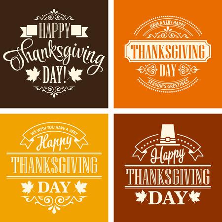 Typographic Thanksgiving Design Set. Vector illustration EPS 10 Illustration