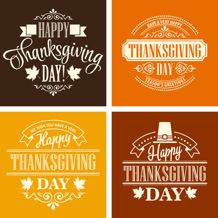 thanks: Typographic Thanksgiving Design Set. Vector illustration EPS 10 Illustration