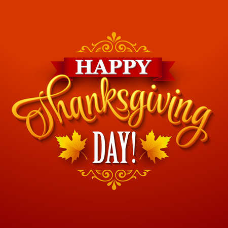brown background: Typographic Thanksgiving Design. Vector illustration EPS 10