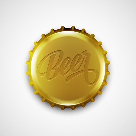 glass beer bottle: Beer bottle cap. Vector illustration EPS 10