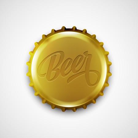 birretes: tapa de la botella de cerveza. Ilustración del vector EPS 10