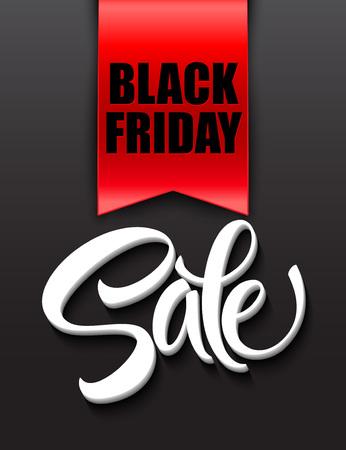 red label: Black friday sale design template. Vector illustration EPS 10 Illustration