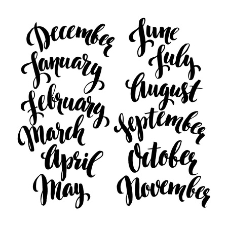 Handwritten months of the year. Vector illustration EPS 10 Иллюстрация