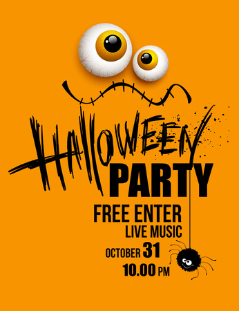 copy text: Halloween party. Happy holiday. Vector illustration EPS 10