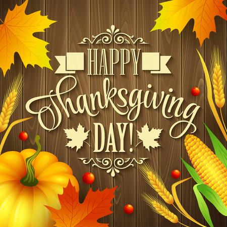 葉、カボチャとウッドの背景にスピカの手描き感謝祭グリーティング カード。ベクトル イラスト EPS 10