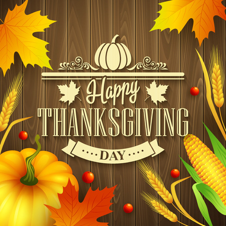 thanks giving: Hand drawn thanksgiving greeting card with leaves, pumpkin and spica on wood background. Vector illustration EPS 10