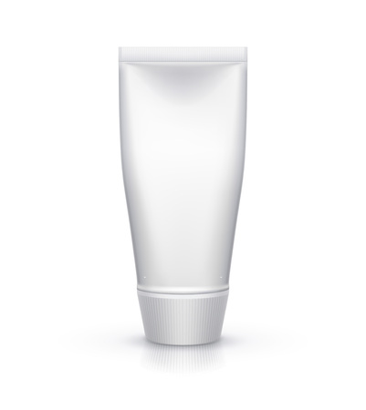 tooth paste: White tube mock-up for cream, tooth paste, gel, sauce, paint, glue. Vector illustration EPS 10