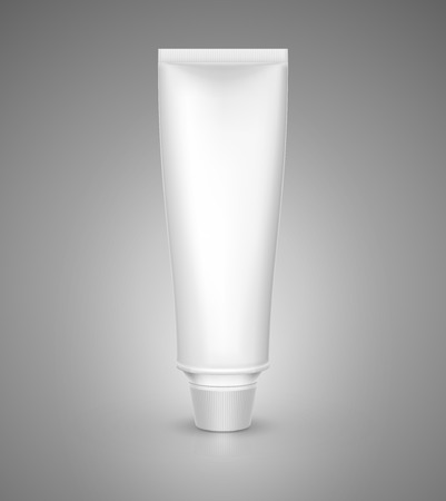 aftershave: White tube mock-up for cream, tooth paste, gel, sauce, paint, glue. Vector illustration EPS 10