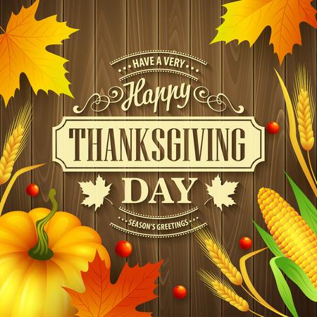 Hand getrokken dankzegging wenskaart met bladeren, pompoen en spica op hout achtergrond. Vector illustratie eps 10