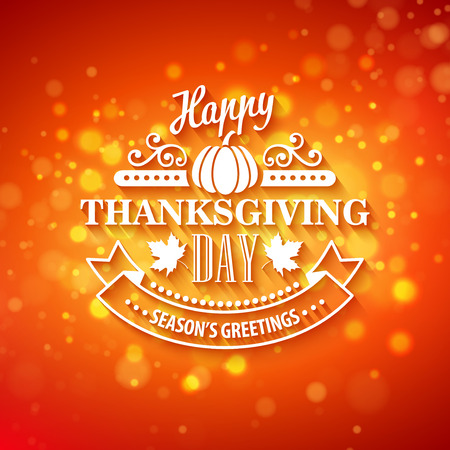 boke: Vector typography design Thanksgiving  Blurred and boke autumn background EPS 10
