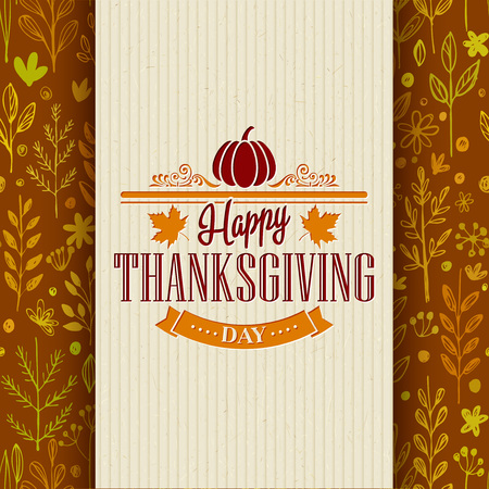 art border: Thanksgiving typography greeting card on seamless pattern. Vector illustration EPS 10